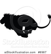 Vector Illustration of a Black Silhouetted Male Lion Running by AtStockIllustration