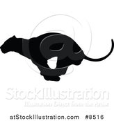 Vector Illustration of a Black Silhouetted Male Lioness Running by AtStockIllustration