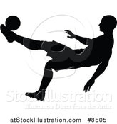 Vector Illustration of a Black Silhouetted Male Soccer Player Athlete in Action by AtStockIllustration