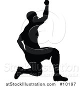 Vector Illustration of a Black Silhouetted Male Soccer Player by AtStockIllustration