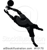 Vector Illustration of a Black Silhouetted Male Soccer Player Goal Keeper Catching the Ball by AtStockIllustration