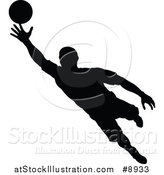 Vector Illustration of a Black Silhouetted Male Soccer Player Goalie in Action by AtStockIllustration