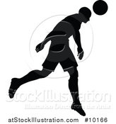 Vector Illustration of a Black Silhouetted Male Soccer Player Head Passing by AtStockIllustration