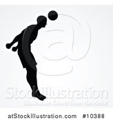 Vector Illustration of a Black Silhouetted Male Soccer Player Heading a Ball, Outlined in White, over Gray by AtStockIllustration