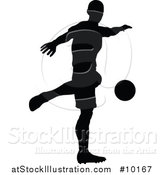 Vector Illustration of a Black Silhouetted Male Soccer Player in Action by AtStockIllustration