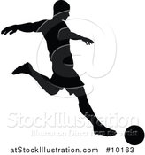 Vector Illustration of a Black Silhouetted Male Soccer Player Kicking by AtStockIllustration