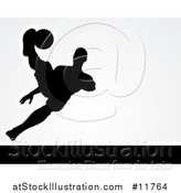 Vector Illustration of a Black Silhouetted Male Soccer Player Kicking over Light Gray by AtStockIllustration