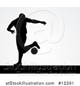 Vector Illustration of a Black Silhouetted Male Soccer Player over Gray by AtStockIllustration