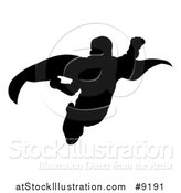 Vector Illustration of a Black Silhouetted Male Super Hero Flying by AtStockIllustration