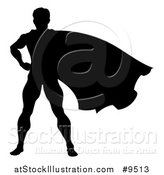 Vector Illustration of a Black Silhouetted Male Super Hero with His Cape Flying by AtStockIllustration