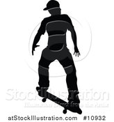 Vector Illustration of a Black Silhouetted Man Skateboarding by AtStockIllustration