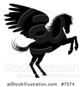 Vector Illustration of a Black Silhouetted Rearing Winged Pegasus Horse by AtStockIllustration