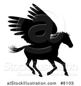 Vector Illustration of a Black Silhouetted Running Winged Pegasus Horse by AtStockIllustration