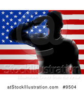 Vector Illustration of a Black Silhouetted Saluting Soldier over an American Flag by AtStockIllustration