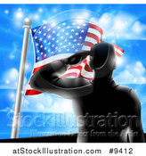 Vector Illustration of a Black Silhouetted Solder Saluting on a Hill Top over an American Flag and Sky by AtStockIllustration