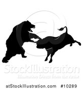 Vector Illustration of a Black Silhouetted Stock Market Bull and Bear Fighting by AtStockIllustration