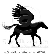 Vector Illustration of a Black Silhouetted Trotting Winged Pegasus Horse by AtStockIllustration