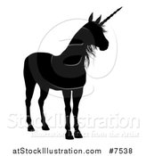 Vector Illustration of a Black Silhouetted Unicorn by AtStockIllustration
