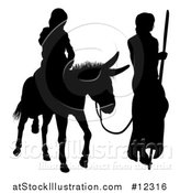 Vector Illustration of a Black Silhouetted Virgin Mary on a Donkey and Joseph by AtStockIllustration
