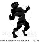 Vector Illustration of a Black Silhouetted Werewolf Howling by AtStockIllustration