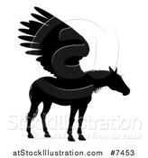 Vector Illustration of a Black Silhouetted Winged Pegasus Horse by AtStockIllustration