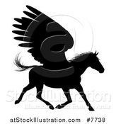 Vector Illustration of a Black Silhouetted Winged Pegasus Horse Running by AtStockIllustration