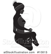 Vector Illustration of a Black Silhouetted Woman in a Yoga Pose by AtStockIllustration