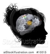 Vector Illustration of a Black Silhouetted Woman's Head in Profile with a Gear Brain by AtStockIllustration