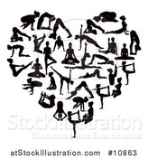 Vector Illustration of a Black Silhouetted Women Doing Yoga and Forming a Heart by AtStockIllustration