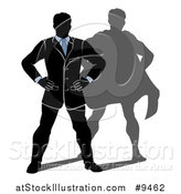 Vector Illustration of a Black White and Blue Silhouetted Business Man Standing with His Hands on His Hips and a Super Hero Shadow by AtStockIllustration