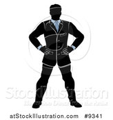 Vector Illustration of a Black White and Blue Silhouetted Business Man Standing with His Hands on His Hips by AtStockIllustration