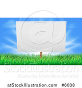 Vector Illustration of a Blank Billboard or Sign in Grass Against Blue Sky by AtStockIllustration