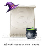 Vector Illustration of a Blank Scroll Sign with a Boiling Cauldron and Purple Witch Hat by AtStockIllustration