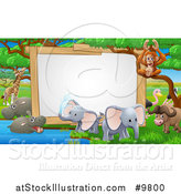 Vector Illustration of a Blank Sign at a Watering Hole, Surrounded by African Safari Animals by AtStockIllustration