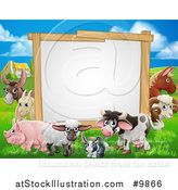 Vector Illustration of a Blank Sign Board Surrounded by Farm Animals, with a House in the Background by AtStockIllustration