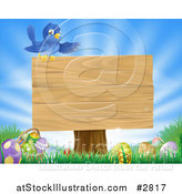Vector Illustration of a Blank Sign over Easter Eggs in Grass over a Blue Sky by AtStockIllustration