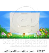 Vector Illustration of a Blank Sign Posted in Grass by Easter Eggs by AtStockIllustration