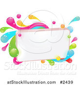 Vector Illustration of a Blank Sign with Colorful Splashes by AtStockIllustration