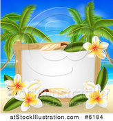 Vector Illustration of a Blank Sign with Plumeria Flowers on a Tropical Beach with Palm Trees by AtStockIllustration