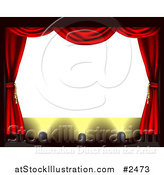 Vector Illustration of a Blank Theater Screen with Red Drapes and Spot Lights on the Stage by AtStockIllustration