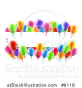 Vector Illustration of a Blank White Banner Signs Bordered in 3d Colorful Party Balloons and Confetti by AtStockIllustration