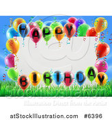 Vector Illustration of a Blank White Sign Framed in Colorful 3d Happy Birthday Balloons over Grass and Blue Sky by AtStockIllustration
