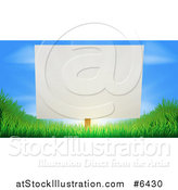 Vector Illustration of a Blank White Sign Posted Against a Sunrise in a Blue Sky on Grassy Green Hills by AtStockIllustration