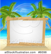 Vector Illustration of a Blank Wood Framed Sign on a Tropical Beach with Palm Trees by AtStockIllustration