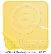 Vector Illustration of a Blank Yellow Label Sticker with a Scratch, Peeling from the Bottom Corner by AtStockIllustration