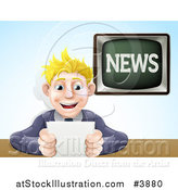 Vector Illustration of a Blond Male News Anchor Smiling and Holding Notes by AtStockIllustration