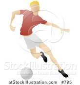 Vector Illustration of a Blond Male Soccer Player Kicking a Ball During a Game by AtStockIllustration
