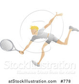 Vector Illustration of a Blond Male Tennis Player Reaching His Racket out to Hit a Ball by AtStockIllustration