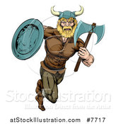 Vector Illustration of a Blond Muscular Viking Warrior Sprinting with an Axe and Shield by AtStockIllustration