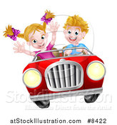 Vector Illustration of a Blond White Boy Driving a Girl in a Red Convertible Car, Catching Air by AtStockIllustration